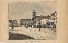 Stampa antica RIMINI veduta della Piazza Giulio Cesare Romagna 1899 Old print