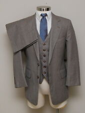 Vintage Mens 38S Hudson's 3 Piece Brown Check Wool Suit