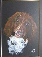 SETTER DOG WATERCOLOR BY E.S. ORIGINAL PAINTING. 33 X 28 CM.