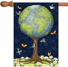 NEW Toland - Earth Tree - Conserve Nature Globe Bird Butterfly Flower House Flag