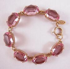 Catherine Popesco 14K Gold Plated Oval Lt. Pink Swarovski Crystals Bracelet
