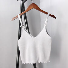 Women Knit Crochet Spaghetti Strap V Neck Vest Cami Tank Crop Tops Shirt Blouse