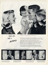 1957 ZIPPO PRINT AD features 4 Lighter Models Businessman Casual Fishermen & Dad