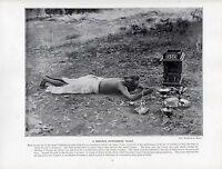 1897 Vittoriano Stampa ~ India ~Un Brahmin Performante Pujah Tempio Fiori
