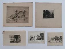 5 Prints w/ Etching s By Thomas Bancroft 1864-1934 Listed Philadelphia Artist NR