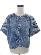 Vintage 80's Acid Wash Denim Jean Crop Top with Lace by Toppings Size Medium