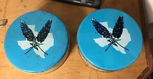 Vintage Texas Fruitcake Round Metal Tins Manor Bakers  Cattle Drives Pair Of Two