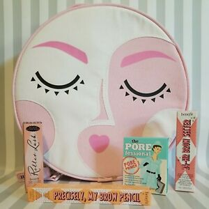 Benefit Makeup Bag Round Pink w/ Minis Precisely Brow Roller Lash Porefessional