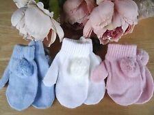 Baby Infant Kids Boy Girl White Pink Blue Pom Pom Mitts w String 0-12-24m 9-13cm