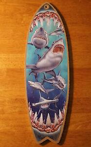 GREAT WHITE SHARK TEETH BITE SURFBOARD SIGN Beach Surfing Surfer Home Decor NEW