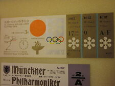 1972 SAPPORO OLYMPIC OPENING CEREMONY TICKET & PROGRAM + MUNICH PHILHARMONIC MO