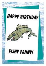 Birthday card, Funny Rude 16th 18th 21st 30th 40th 50th 60th 70th 80th FishFanny