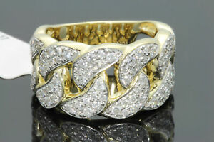 10K YELLOW GOLD 1.75 CARAT MENS REAL DIAMOND ENGAGEMENT WEDDING PINKY RING BAND