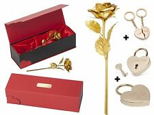 Luxus Hochzeit GESCHENK SET Goldene Rose Liebesschloss Partner Schlüsselanhänger