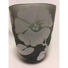 Vase verre givré dégagé à l'acide puis émaillé art nouveau Hauteur 22,5