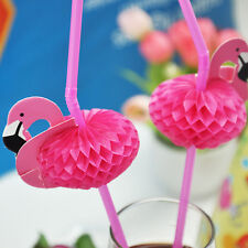 20pcs 3D Pink Flamingo  Cocktail Plastic Umbrella  Drinking Straws Party Decor