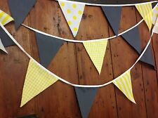 GIALLO e Grigio Bunting strisce Gingham Ideale Nozze Baby Shower 10 MT 38 BANDIERE