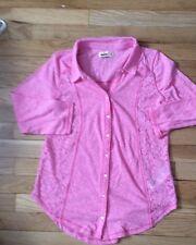 Women's SZ M Hollister Pink Boneyard Beach Lace Shirt~NWOT~