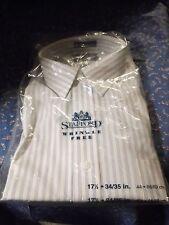 Nos Mens Vintage Shirt Stafford Blue Yellow Pinstripe 17 1/2 34/35