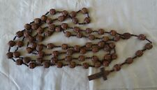 """Very Large Antique French Priest Hand Carved Wood Seed Rosary Beads 85"""""""