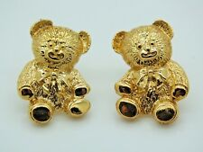 AVON GOLD TONE TEDDY BEAR PIERCED EARRINGS