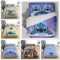 3D Disney Stitch Love Kids Bedding Set Duvet Cover Pillowcase Comforter Cover