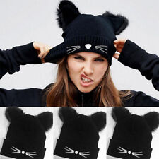 Women Girl Winter Knitted Beanie Hat Ladies With Fluffy Double Cat Ear Pom Cap