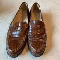 Vintage 1980s Joan & David Brown Leather Loafers 40 Crocodile Pattern Italy