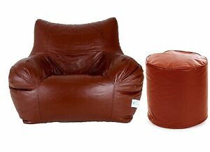 Bean bag Leather Chair without Bean with footstool TAN for luxuries Decor gift