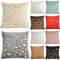 Large Feather Pattern Corduroy Cushion Cover Pillow Cases Soft Home Decor Luxury