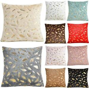 Gold Feather Fur Soft Pillow Case Sofa Cushion  Square Cover Living Room Decor