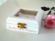 Elegant Wooden Wedding Ring Box. Ring Pillow Alternative. White Ring Bearer