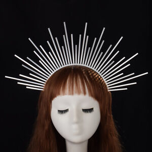 Party Silver Halo Headband Spiked Crown Wedding Headdress Costume Headpiece