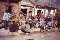 China Street Scene 35mm Slide 1980s Vtg Men Bicycle Shop Candid View