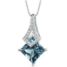 14k White Gold 1.99 CTS London Blue Topaz and Diamond Pendant 18""