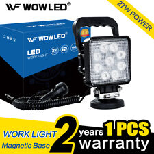 27W Square LED Work Light Magnetic Base Silver Offroad Floodlight Truck Car 4x4