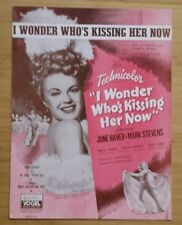 """""""I WONDER WHO'S KISSING HER NOW"""" 1909 1936 VINTAGE SHEET MUSIC FROM THE MOVIE"""