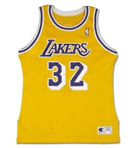 Magic Johnson Signed 1990-91 Game Worn Lakers Home Jersey Mears A10 + JSA + SCP