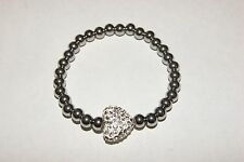 New Rustic White Heart Shamballa Stainless Steel Bracelet / Cuff & Earring Set