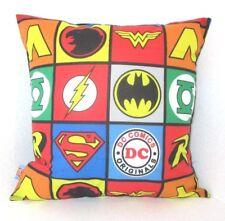 "DC JUSTICE LEAGUE LOGOS WONDER WOMAN SUPERMAN ROBIN  CUSHION GEEK 16X16"""