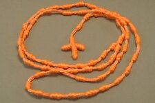 "Knotted Rosary Knot Design 30"" Loop 5"" Drop Necklace NEON ORANGE Low Stock!"