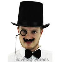 TOP HAT MONOCLE MOUSTACHE FANCY DRESS 1920S STYLE RICH TOFF COSTUME ACCESSORIES