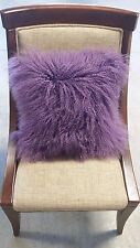 "Handmade Mongolian Fur 16""x16"" Square Purple Pillow Cushion Case & fabric back"
