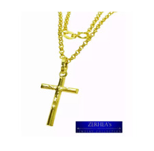 ZERHEA's 18k Tawco Half Cross Pendant with Necklace