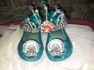 DISNEY STORE Princess ARIEL MERMAID Costume ACCESSORIES - SHOES & CROWN sz 7/8