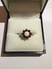 Hallmarked 375 9ct Yellow Gold Fancy Garnet & Opal Cluster Ring Vintage N