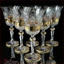 Bohemia Crystal Wine Glasses 20 cm, 220 ml, Mona Liza Gold 6 pc New!