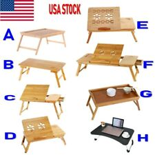 Large Handed Laptop Desk Folding Table Bamboo Bed Tray With Drawer 8Types Option