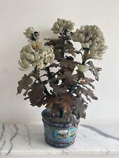 More details for vintage antique chinese jade bonsai tree in cloisonne flower pot