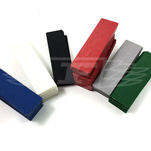 50 MIXED COLOUR PLASTIC PACKERS - 10 GREEN 8 BLACK 8 BLUE 8 GREY 8 BROWN 8 RED